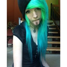 {FC: Madison Morgan} Hi. I was abused by my actual parents and the Edge family adopted me. I'm 18 and single. I also have panic attacks a lot. and I have an anxiety disorder. I also self harm. Gothic Hairstyles, Cool Hairstyles, Scene Hairstyles, Emo Scene Hair, Emo Hair, Green Hair, Blue Hair, Blue Green, Scene Girl Fashion