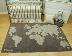 85 best world maps in decor images on pinterest babies rooms shimmery grey crib bedding set by pine creek bedding with a world map rug by lorena gumiabroncs Choice Image