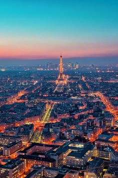 Paris City View. . . With shining Golden Eiffel Tower.