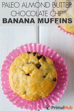 Paleo Almond Butter Chocolate Chip Banana Muffins #paleo #glutenfree #almondbutter #chocolatechip #banana #Muffins #breakfast
