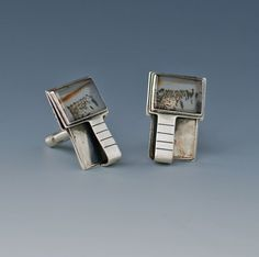 Ruth Roach Sterling Cufflinks with Moss Agates Vintage Cufflinks, Agates, Moss Agate, Wearable Art, Sterling Silver Jewelry, Jewelry Design, American, Agate