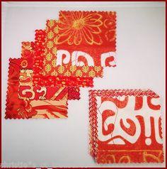 Orange tropics quilt fabric squares