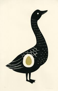The Golden Goose by Nora Aoyagi. A lovely image to illustrate the story of the goose that laid the golden egg. Art And Illustration, Gravure Illustration, Illustrations Posters, Bird Art, Printmaking, Screen Printing, Graphic Art, Images, Golden Goose