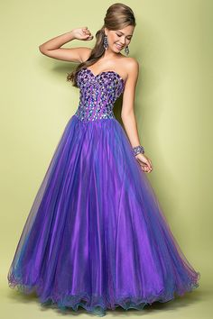 Custom Made Ball Gown Blue / Purple Short Prom Dresses, Homecoming ...