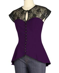 Chicstar Black Dressed To Kill Lace Blouse. Elegant short sleeved goth styled blouse in black with lace panels. This top features a key hole neckline, functioning buttons with loop button-holes down front. The edge of all the lace parts are trimmed Victorian Lace, Purple Blouse, Gothic Outfits, Dressed To Kill, Summer Tshirts, Gothic Fashion, Tunic Tops, Plus Size, Style Inspiration
