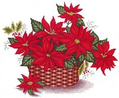 Cross Stitch Flowers, Christmas Cross, Rubrics, Cross Stitch Designs, Poinsettia, Needlework, Rooster, Christmas Decorations, Fabric Crafts