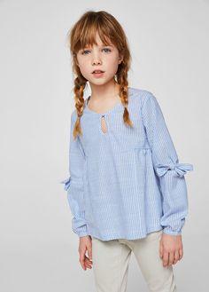 Blusa algodón mil rayas - Niña | MANGO Kids España