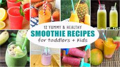 12 Smoothie Recipes for Toddlers + Kids - HAPPY TODDLER PLAYTIME Veggie Smoothie Recipes, Tropical Smoothie Recipes, Healthy Smoothies, Healthy Food Blogs, Healthy Diet Recipes, Strawberry Mango Smoothie, Toddler Smoothies, Juicing With A Blender, Extreme Diet