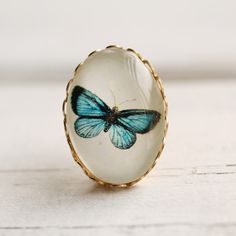 Miniature Vintage Butterfly Brooch    Antique Turquoise Botanical Pin by SilkPurseSowsEar on Etsy (null)