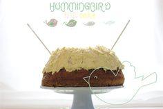 Golden flaxseed and rhubarb Hummingbird bundt cake