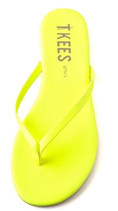 TKEES neon flip flops. We're obsessed with this brand!