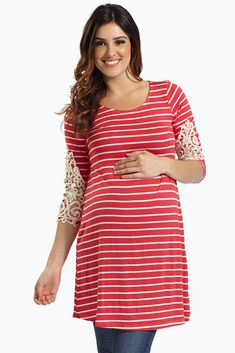 Keep it simple with this classic striped crochet sleeve maternity top.