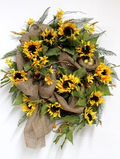 Country Yellow Sunflowers, Luxury Front Door Wreaths