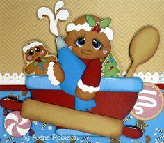 ELITE4U ALENE PREMADE 2 SCRAPBOOK PAGES CHRISTMAS * GINGERBREAD PAPER PIECINGS