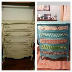 Before and after modpodge fabric dresser makeover