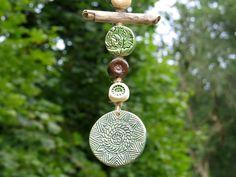 Keramik Garten Windspiel mit Treibholz Garten Deko von gedemuck auf DaWanda.com