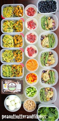 Meal Prep Monday - this week's meal prep ideas include: --Butternut Squash Zoodles with Spicy Italian Sausage --Skillet Honey Garlic Chicken with Fingerling Potatoes and Green Beans --Turkey Salad --Peanut Butter and Jelly Overnight Oats --Nutrition info Lunch Meal Prep, Meal Prep Bowls, Healthy Meal Prep, Healthy Snacks, Healthy Eating, Healthy Recipes, Clean Eating, Weekend Meal Prep, Lunch Recipes