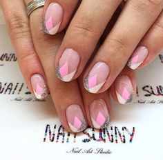 Glittered Negative Space Nail Art Design. As said, pastel + glitters = Jaw dropping combo.