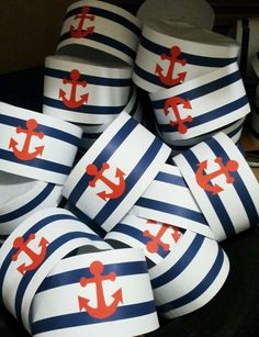 Diy Nautical Party Decor Best Of Diy Sailor Party Hats Inspiration Found On thedailyjackjack Sailor Birthday, Sailor Party, Sailor Theme, Baby Birthday, Nautical Mickey, Nautical Theme, Nautical Party Favors, Shower Bebe, Baby Boy Shower