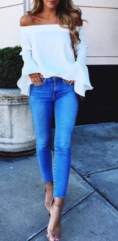 White ruffle top.