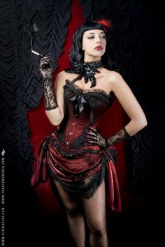 Burlesque outfit inspired by Moulin Rouge