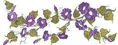 Morning Glories Purple Transfer Art Decals Wall Designs | eBay