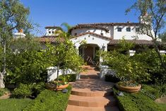 tuscan style frontyard ideas | Spanish Courtyard Front Entry Planting Ideas