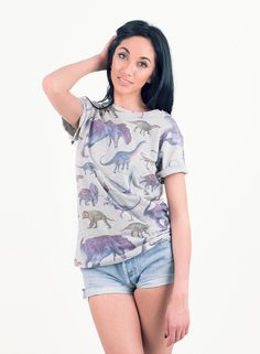 Shop  Women's All Over Print Dinosaur T-Shirt. Buy retro & indie fashion at Phix Clothing.