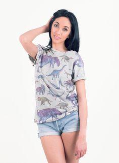 Shop  Women's All Over Print Dinosaur T-Shirt. Buy retro & indie fashion at Phix Clothing.