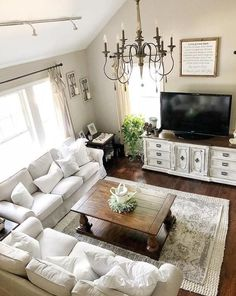 Are you searching for pictures for farmhouse living room? Check this out for very best farmhouse living room inspiration. This farmhouse living room ideas seems to be excellent. Living Room Tv, Apartment Living, Interior Design Living Room, Living Room Furniture, Living Room Designs, Cozy Apartment, Kitchen Living, Interior Livingroom, Farmhouse Living Rooms