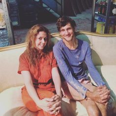 "Me and Mat Baynton (in his underwear) in a bunker underground Slough, England. Who else will survive? Watch You, Me and The Apocalypse…"" Mathew Baynton, Jenna Fischer, The Mick, Horrible Histories, Bunker, Dreamworks, Apocalypse, Favorite Tv Shows, Pixar"