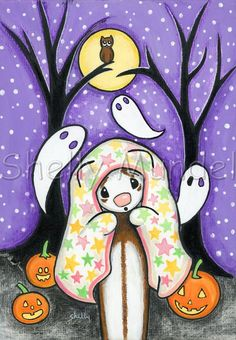 Original Ferret Halloween Spooky Ghosts by ShellyMundelArt on Etsy Moon Painting, Seasons Of The Year, Halloween, Seasonal Decor, Photo Art, Original Artwork, Snoopy, The Originals, Wallpaper