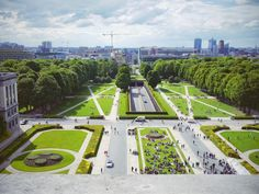 View from the top of the Arc de Triomphe in the Parc du Cinquantenaire in Brussels, Belgium.  Enter for free through the Royal Museum of the Armed Forces and Military History and climb up to the top for an open-air view of the lovely park below.