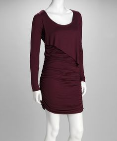 Take a look at this Merlot Scoop Neck Dress by Pure and Simple on #zulily today!