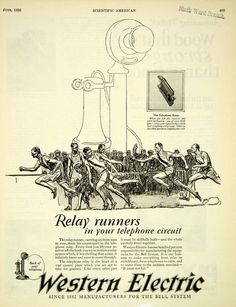 1926 Ad Western Electric Bell Antique Telephone Run Relay Race Sports SCA5…