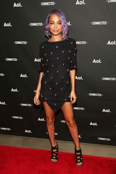 30+ Lessons In Party Dressing, Courtesy Of Nicole Richie #refinery29  http://www.refinery29.com/2016/01/101520/nicole-richie-style-outfit-pictures#slide-20  Nicole's lavender hair is pretty hard to get over, but this suede mini steals the show....