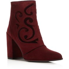 Stuart Weitzman Florish Suede and Velvet High Heel Booties (€555) ❤ liked on Polyvore featuring shoes, boots, ankle booties, vine purple, suede leather boots, stuart weitzman booties, purple booties, purple suede boots and embroidered boots