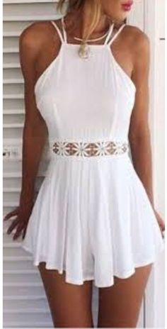 White Spaghetti Strap Halter Open Back Cut Out Lace Waist Pleated Short Prom Dress 0930 - vestidos - Summer Dress Outfits Mode Outfits, Girl Outfits, Fashion Outfits, Style Fashion, Dress Fashion, Fashion Sandals, Fashion Black, Fashion Design, Chic Outfits