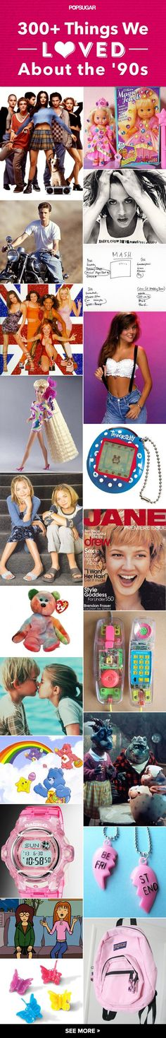 Happy throwback Thursday! We can't help but get nostalgic thinking about growing up in the 1990s. Thinking of those days reminds us of the music, fashion, heartthrobs, toys, and TV shows that made the '90s totally rad. So let's take a trip down memory lane to our '90s girlhood, from Ring Pops, 90210, and Tamagotchis to stick-on earrings, Devon Sawa, and Titanic. Check it out!