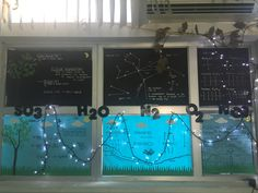 My interactive window display . Previously ugly view , now hidden by constellations up the top in the night sky and the water/ weather cycle on the bottom. Illustrated with key science terms for my ELL learners !!!