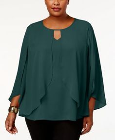 NY Collection Plus Size Capelet Top