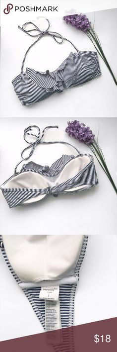 Abercrombie & Fitch Swim Top only Striped halter or Strapless bandeu top with ruffles. Hook back. Stretchy with removable padding. Adorable bathing suit. Used once. I'm a 34C/32D and this fit perfectly. •NO TRADES• Abercrombie & Fitch Swim Bikinis