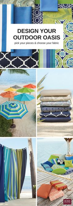 54 all-weather fabrics to inspire you. Design the outdoor spot you've been wanting with coordinating pillows, cushions, curtains and umbrellas. Choose from premium Sunbrella® jacquard or Sunbrella® fabric. Multiple sizes, multiple shapes and multiple styles means nearly endless options when it comes to making your space comfortable and stylish. Get outside, enjoy the backyard porch and make it pretty. Your way. Available at HomeDecorators.com.