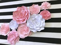 Pink and white paper flower wall decor large paper flowers shades pink and white paper flower wall decor large paper flowers shades of pink pinterest flower wall decor large paper flowers and white paper mightylinksfo