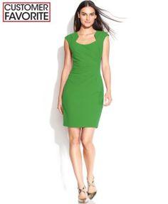 Calvin Klein Cap-Sleeve Scuba Cutout-Neckline Sheath   macys.com