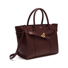 Small Zipped Bayswater in Oxblood Natural Grain Leather   Women   Mulberry