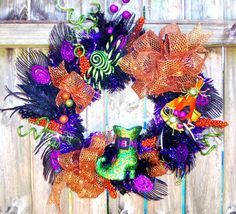 Halloween Wreath Holiday Home Décor Black Spider by 3Mimis on Etsy, $58.00
