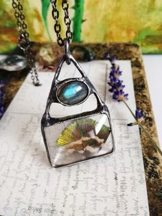 Labradorite Necklace, boho necklace, Amulet Necklace, Protective Eye, Labradorite Eye, peacock feather pendant,gifts for her,boho necklace by BUSTANI on Etsy
