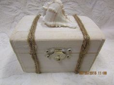 Whitewashed Aged Beach NAutical Chest Anchor Jute Rope Wedding Ring Bearers Box in Home & Garden, Wedding Supplies, Ring Pillows & Flower Baskets | eBay