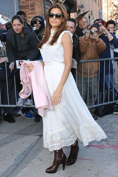 Eva Mendes in a white summer dress and ankle boots - sexy